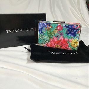 NEW $188 Tadashi Shoji Floral Embellished Clutch